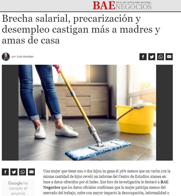 BAE: Brecha salarial, precarización y desempleo castigan más a madres y amas de casa
