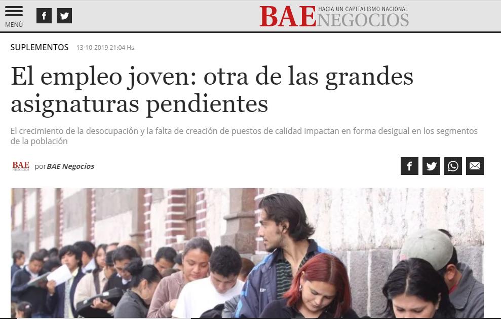 BAE negocios: «El empleo joven: otra de las grandes asignaturas pendientes»